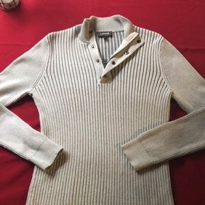 Express Ribbed Cotton Mock-Neck Sweater (S)